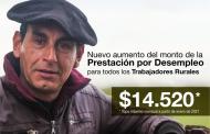 Aumentó la Prestación por Desempleo para los trabajadores rurales a 14.520 pesos